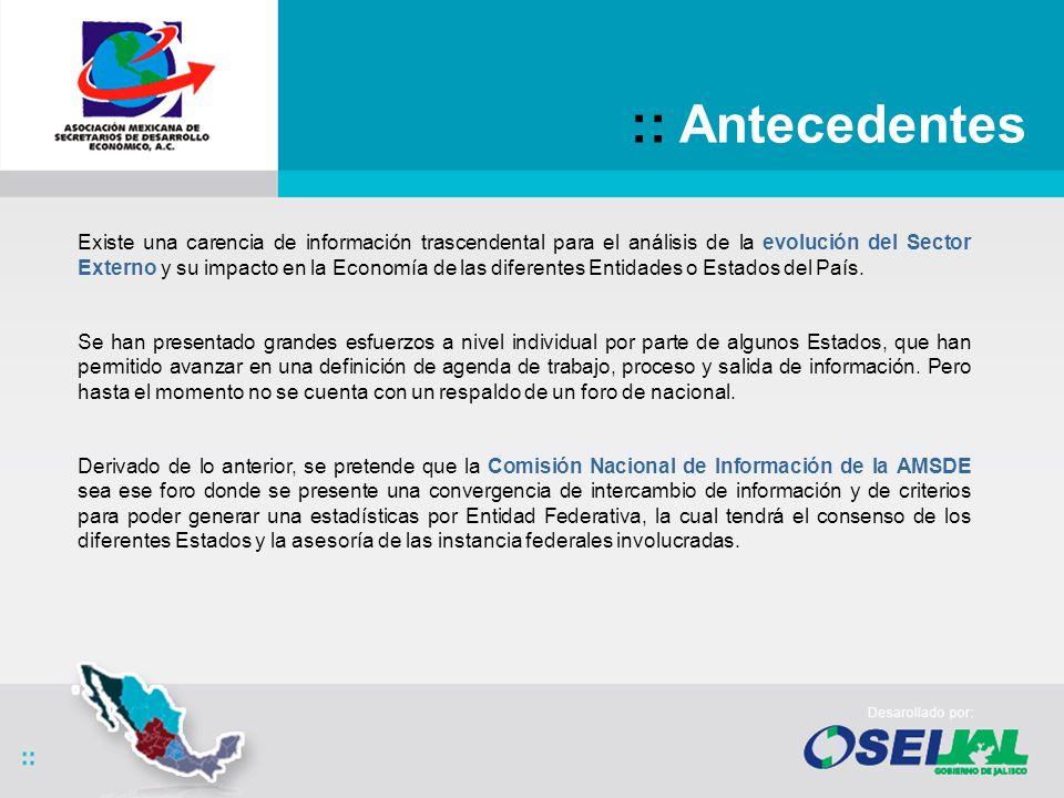 La Comisión Nacional de Información de la AMSDE dentro de sus programas de trabajo en un marco de colaboración y compromiso ha enfocado sus esfuerzos a la implementación de Estadísticas de Comercio Exterior a Nivel Estatal.