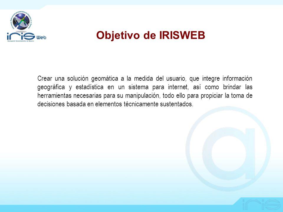 Objetivo de IRISWEB Crear una solución geomática a la medida del usuario, que integre información geográfica y estadística en un sistema para internet