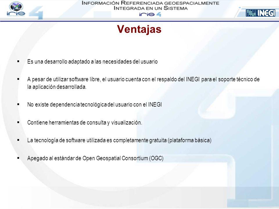 Ventajas Es una desarrollo adaptado a las necesidades del usuario A pesar de utilizar software libre, el usuario cuenta con el respaldo del INEGI para