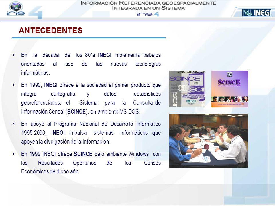 ANTECEDENTES En la década de los 80´s INEGI implementa trabajos orientados al uso de las nuevas tecnologías informáticas. En 1990, INEGI ofrece a la s