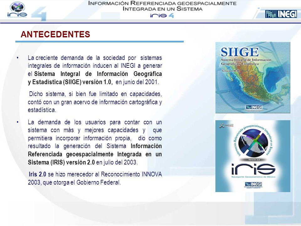 INEGI culmina la nueva versión del sistema Información Referenciada geoespacialmente Integrada en un Sistema (IRIS), versión 3.0 y la pone a disposición de la sociedad en marzo del 2005.