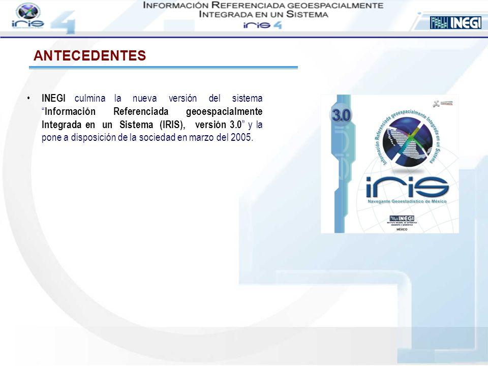 ANTECEDENTES Continuando con el proceso de desarrollo, INEGI genera y pone a disposición de la sociedad el sistema Información Referenciada geoespacialmente Integrada en un Sistema (IRIS), versión 4.0 en mayo del 2005.