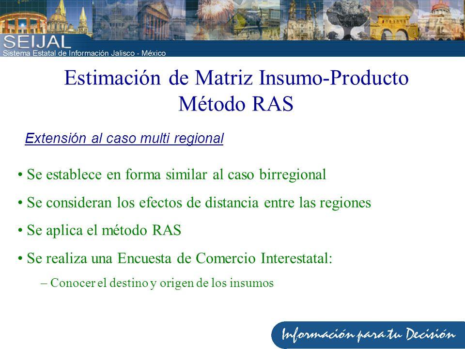 Estimación de Matriz Insumo-Producto Método RAS Determinación de deflactores interregionales Estimación de las distancias interregionales con fines de ajuste del proceso RAS Finalmente Corrección de los flujos de productos Se consideran los efectos de distancia entre las regiones Calibración
