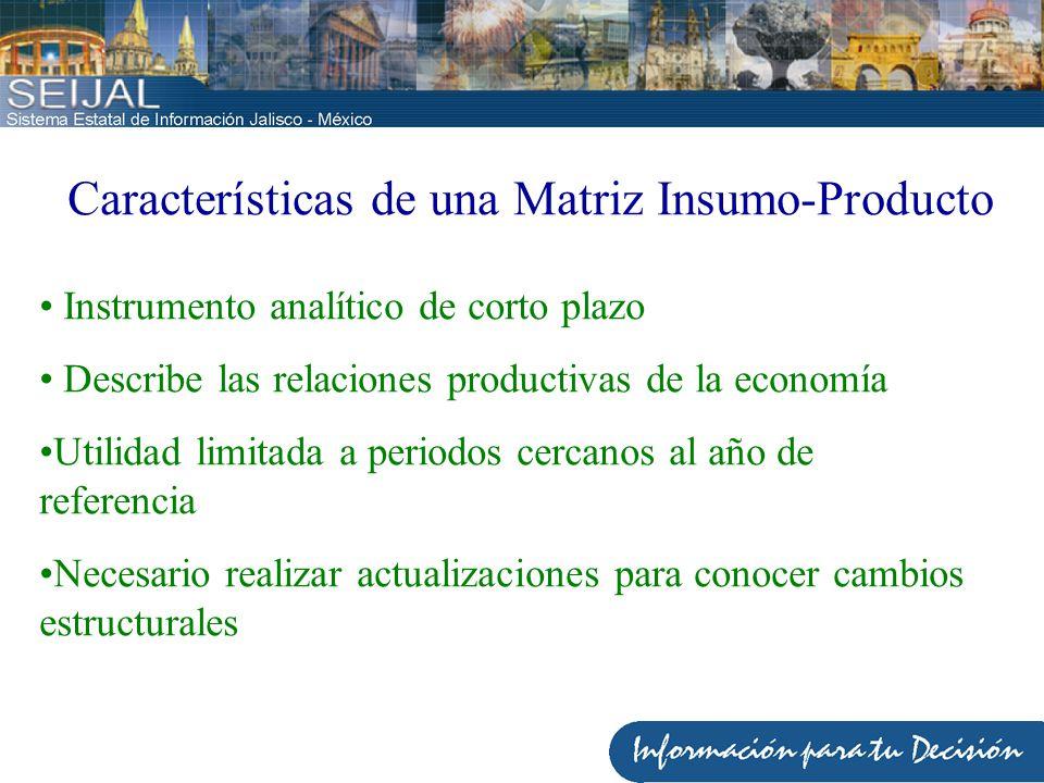 Características de una Matriz Insumo-Producto Instrumento analítico de corto plazo Describe las relaciones productivas de la economía Utilidad limitad