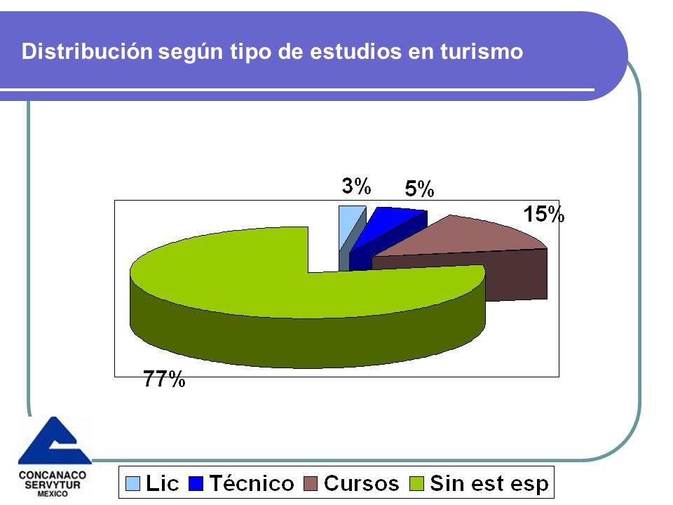 Distribución según tipo de estudios en turismo