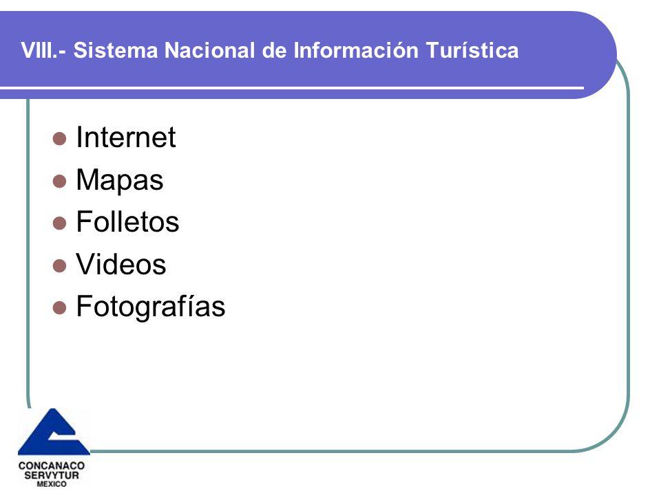 VIII.- Sistema Nacional de Información Turística Internet Mapas Folletos Videos Fotografías