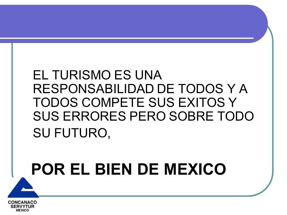 EL TURISMO ES UNA RESPONSABILIDAD DE TODOS Y A TODOS COMPETE SUS EXITOS Y SUS ERRORES PERO SOBRE TODO SU FUTURO, POR EL BIEN DE MEXICO