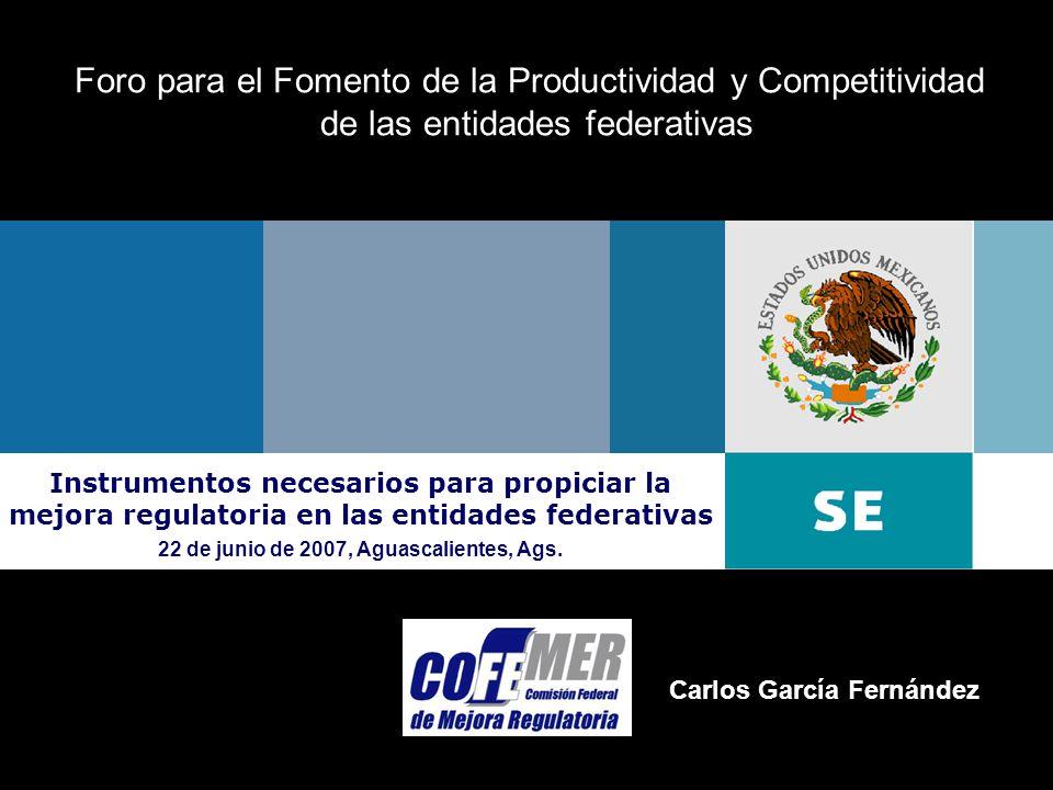 22 de junio 2007Comisión Federal de Mejora Regulatoria Oficina del Titular Foro para el Fomento de la Productividad y Competitividad de las entidades