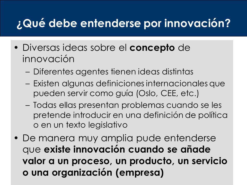¿Qué debe entenderse por innovación? Diversas ideas sobre el concepto de innovación –Diferentes agentes tienen ideas distintas –Existen algunas defini