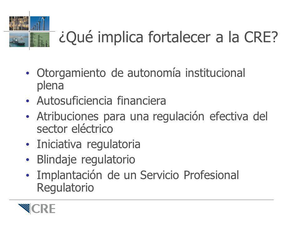 ¿Qué implica fortalecer a la CRE? Otorgamiento de autonomía institucional plena Autosuficiencia financiera Atribuciones para una regulación efectiva d