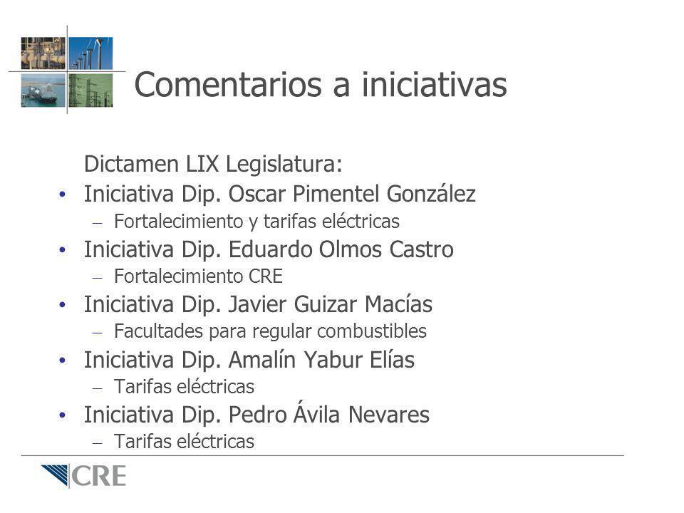 Comentarios a iniciativas Dictamen LIX Legislatura: Iniciativa Dip. Oscar Pimentel González – Fortalecimiento y tarifas eléctricas Iniciativa Dip. Edu
