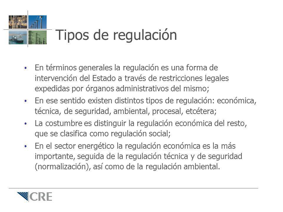 Tipos de regulación En términos generales la regulación es una forma de intervención del Estado a través de restricciones legales expedidas por órgano