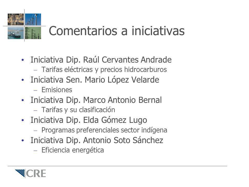 Comentarios a iniciativas Iniciativa Dip. Raúl Cervantes Andrade – Tarifas eléctricas y precios hidrocarburos Iniciativa Sen. Mario López Velarde – Em