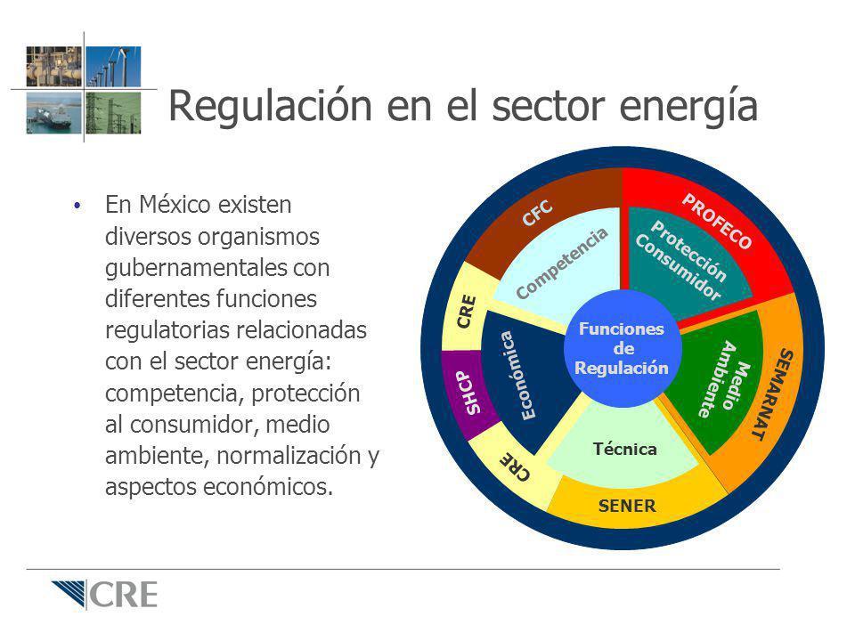 Regulación en el sector energía En México existen diversos organismos gubernamentales con diferentes funciones regulatorias relacionadas con el sector