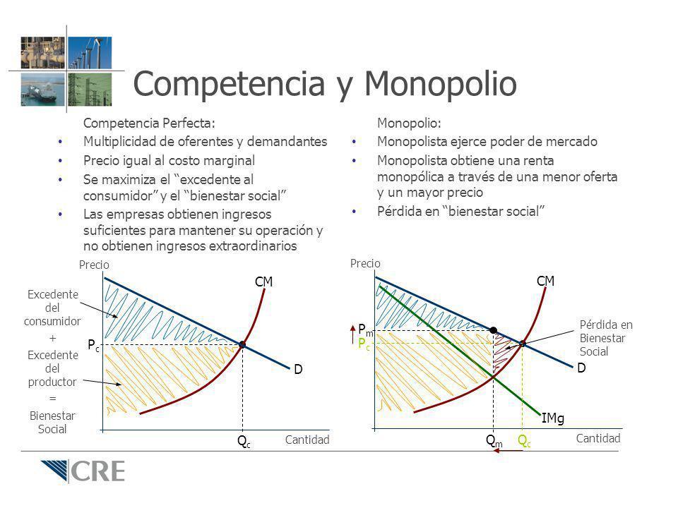 Competencia y Monopolio Competencia Perfecta: Multiplicidad de oferentes y demandantes Precio igual al costo marginal Se maximiza el excedente al cons