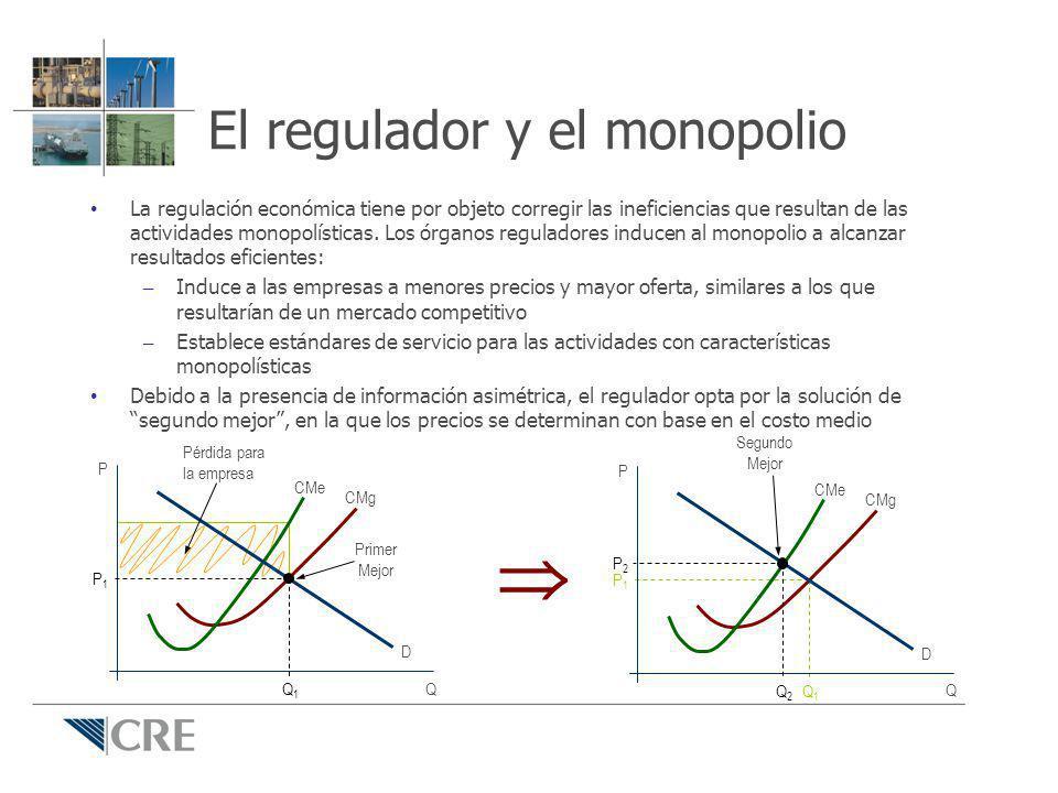 Propósito de la regulación Cuando en condiciones normales no es posible la sana competencia, se justifica la intervención del Estado con el fin de aminorar las consecuencias de un mercado monopólico; El objetivo de un regulador económico es propiciar la eficiencia productiva y la eficiencia asignativa en el mercado, es decir, propiciar mercados eficientes; A través de reglas e incentivos adecuados, un regulador debe poner en evidencia las ventajas comparativas de un país y mejorar la productividad, contribuyendo con ello a la competitividad de un país; A través de reglas e incentivos adecuados, un regulador debe poner en evidencia las ventajas comparativas de un país y mejorar la productividad, contribuyendo con ello a la competitividad de un país.