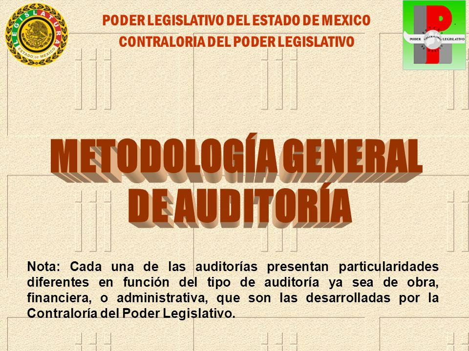 PODER LEGISLATIVO DEL ESTADO DE MEXICO CONTRALORIA DEL PODER LEGISLATIVO Nota: Cada una de las auditorías presentan particularidades diferentes en fun