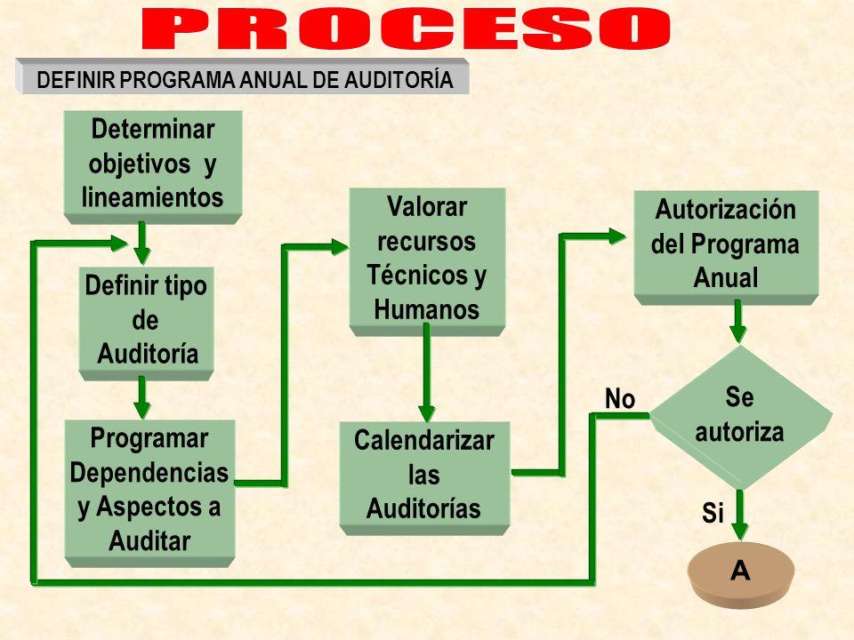 Definir tipo de Auditoría Programar Dependencias y Aspectos a Auditar Valorar recursos Técnicos y Humanos Calendarizar las Auditorías Autorización del