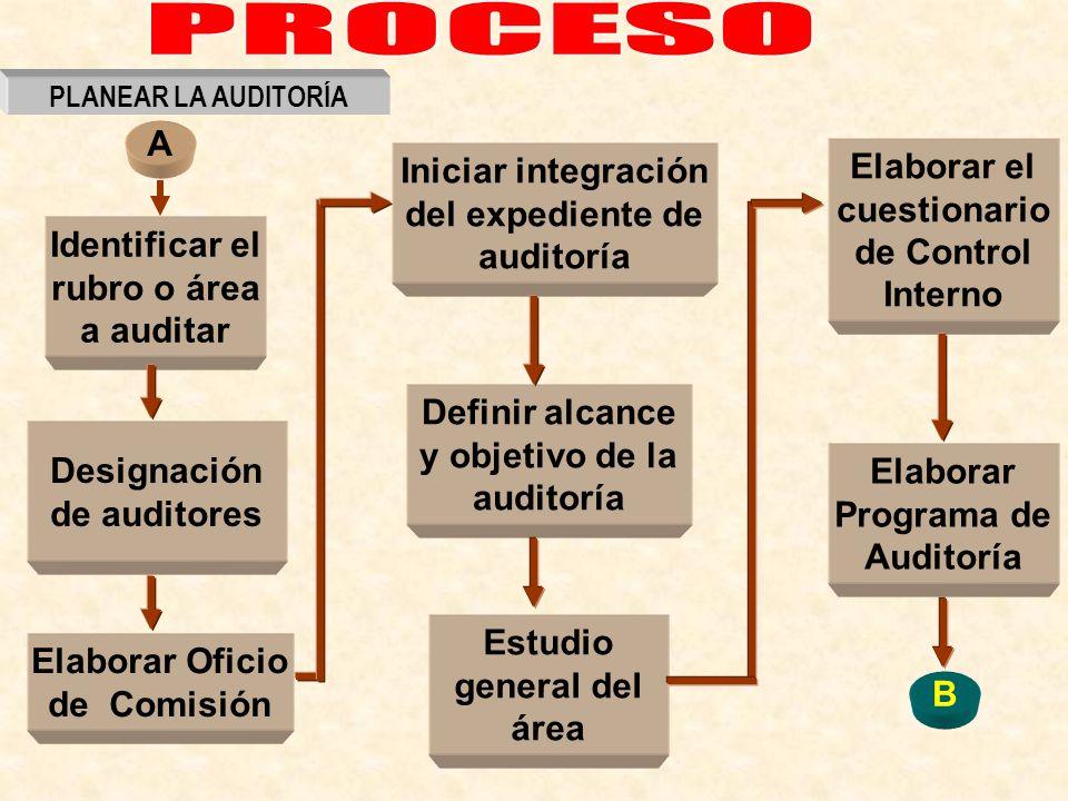 Identificar el rubro o área a auditar Designación de auditores Definir alcance y objetivo de la auditoría Estudio general del área Elaborar Programa d