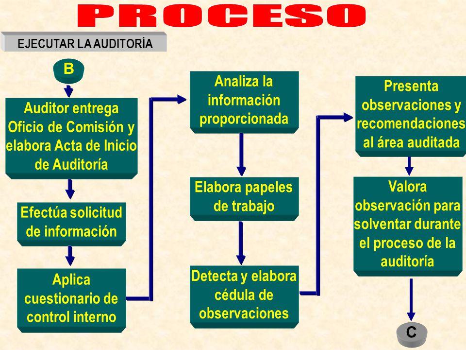Efectúa solicitud de información Auditor entrega Oficio de Comisión y elabora Acta de Inicio de Auditoría Aplica cuestionario de control interno Anali