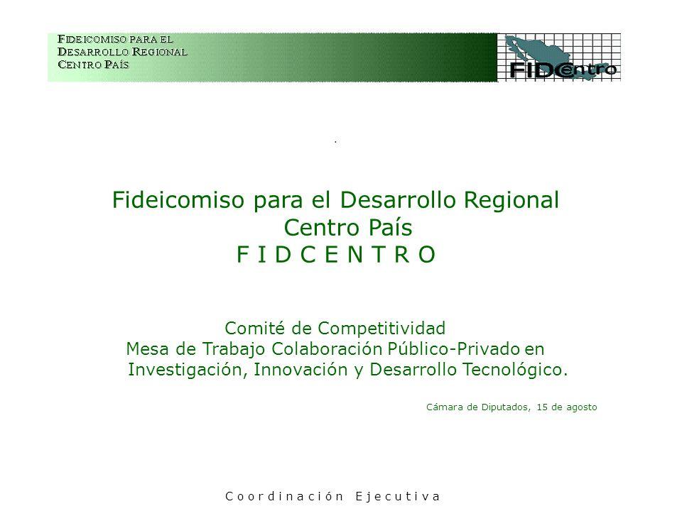 . Fideicomiso para el Desarrollo Regional Centro País F I D C E N T R O Comité de Competitividad Mesa de Trabajo Colaboración Público-Privado en Inves