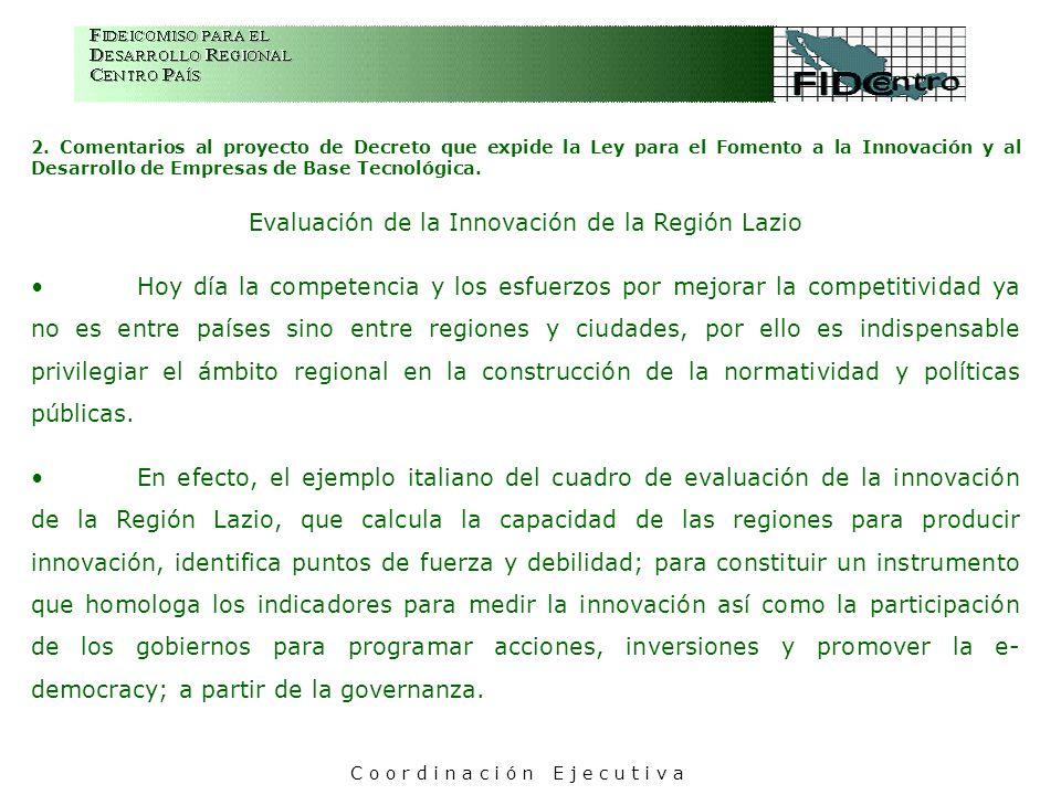 2. Comentarios al proyecto de Decreto que expide la Ley para el Fomento a la Innovación y al Desarrollo de Empresas de Base Tecnológica. Evaluación de