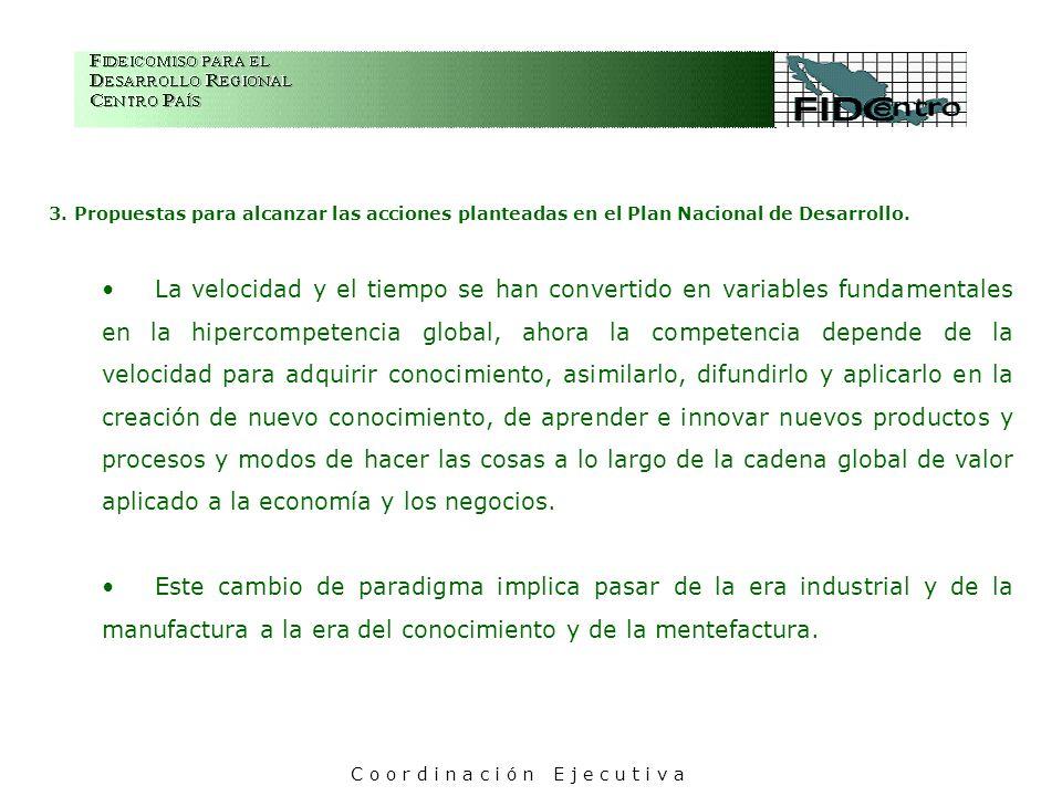 3. Propuestas para alcanzar las acciones planteadas en el Plan Nacional de Desarrollo. La velocidad y el tiempo se han convertido en variables fundame