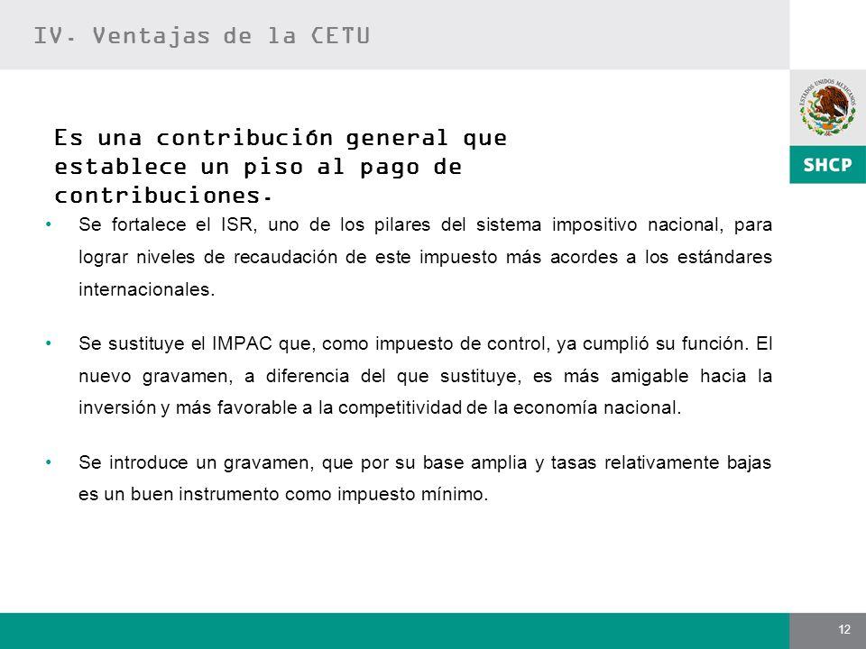 12 Es una contribución general que establece un piso al pago de contribuciones. Se fortalece el ISR, uno de los pilares del sistema impositivo naciona