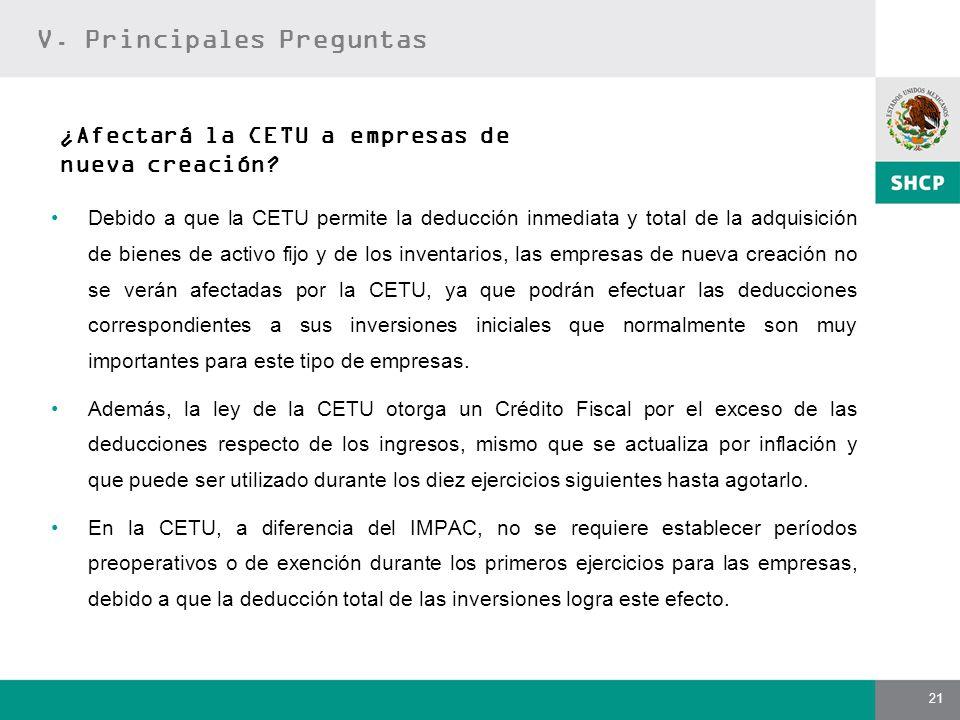 21 Debido a que la CETU permite la deducción inmediata y total de la adquisición de bienes de activo fijo y de los inventarios, las empresas de nueva