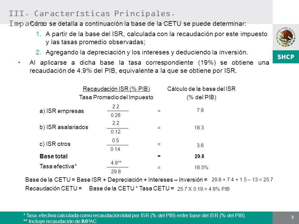 8 Como se detalla a continuación la base de la CETU se puede determinar: 1.A partir de la base del ISR, calculada con la recaudación por este impuesto