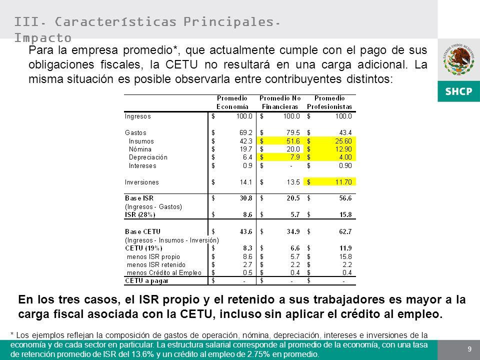 9 Para la empresa promedio*, que actualmente cumple con el pago de sus obligaciones fiscales, la CETU no resultará en una carga adicional. La misma si