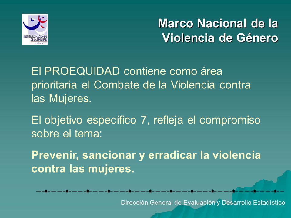 El PROEQUIDAD contiene como área prioritaria el Combate de la Violencia contra las Mujeres. El objetivo específico 7, refleja el compromiso sobre el t