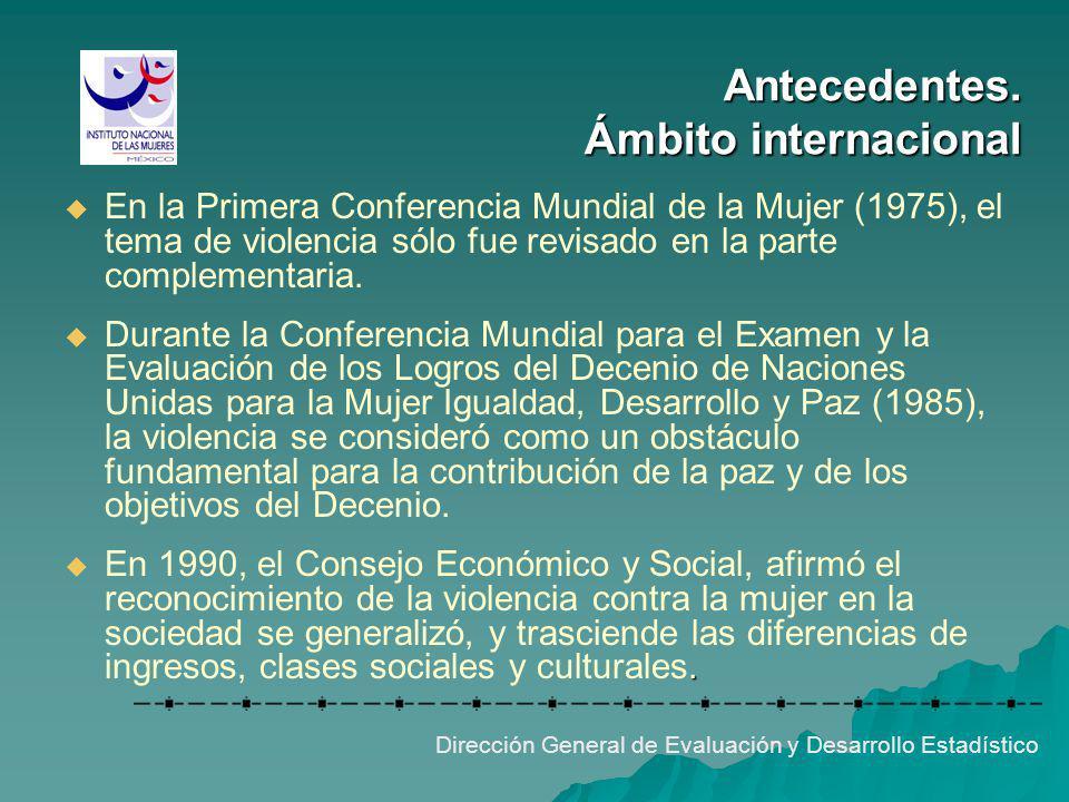 Antecedentes. Ámbito internacional Dirección General de Evaluación y Desarrollo Estadístico En la Primera Conferencia Mundial de la Mujer (1975), el t