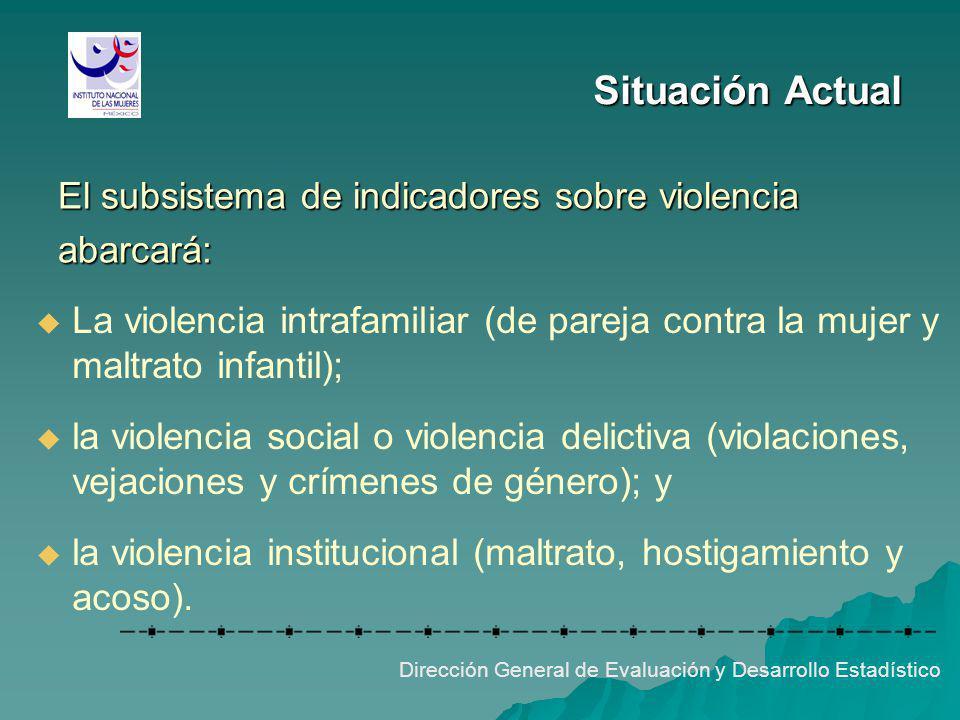 Situación Actual El subsistema de indicadores sobre violencia abarcará: Dirección General de Evaluación y Desarrollo Estadístico La violencia intrafam