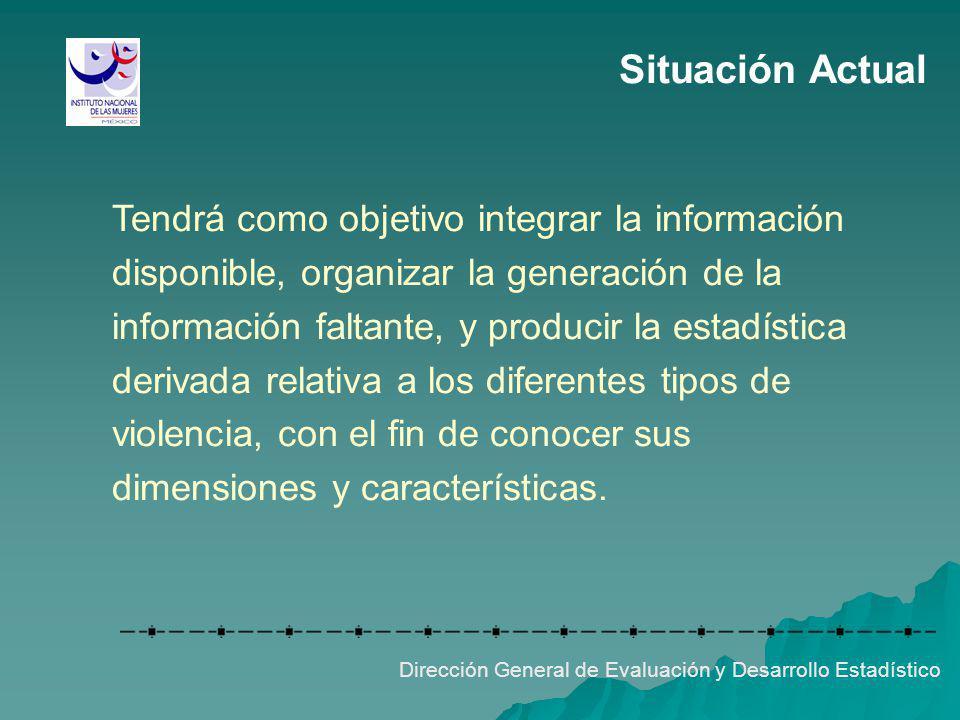 Situación Actual Tendrá como objetivo integrar la información disponible, organizar la generación de la información faltante, y producir la estadístic