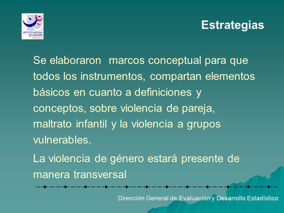 Estrategias Se elaboraron marcos conceptual para que todos los instrumentos, compartan elementos básicos en cuanto a definiciones y conceptos, sobre v