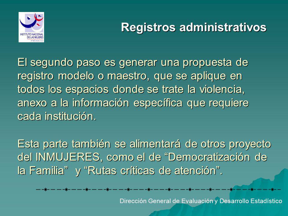 Registros administrativos El segundo paso es generar una propuesta de registro modelo o maestro, que se aplique en todos los espacios donde se trate l