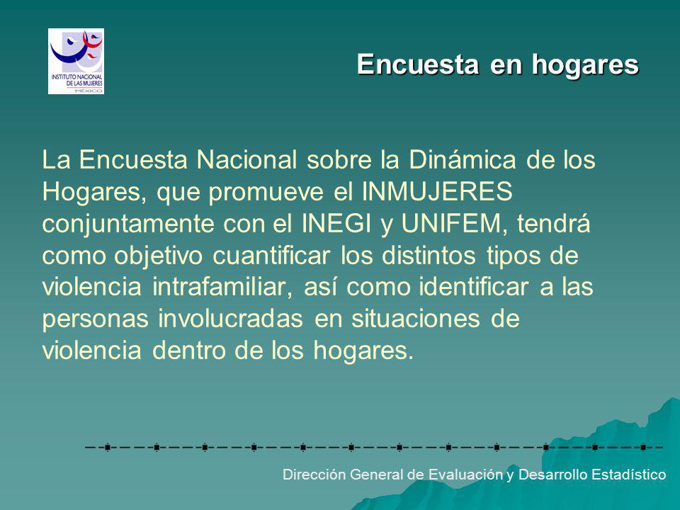 Encuesta en hogares La Encuesta Nacional sobre la Dinámica de los Hogares, que promueve el INMUJERES conjuntamente con el INEGI y UNIFEM, tendrá como