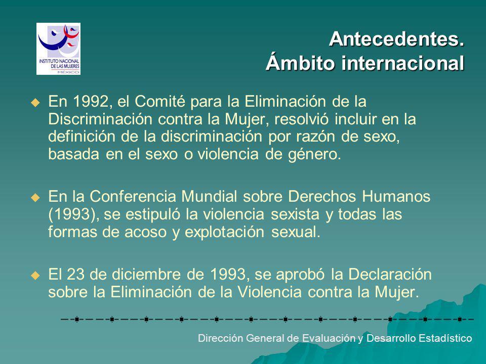 Antecedentes. Ámbito internacional Dirección General de Evaluación y Desarrollo Estadístico En 1992, el Comité para la Eliminación de la Discriminació