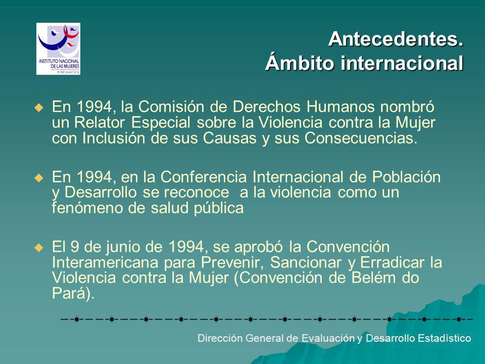Antecedentes. Ámbito internacional Dirección General de Evaluación y Desarrollo Estadístico En 1994, la Comisión de Derechos Humanos nombró un Relator