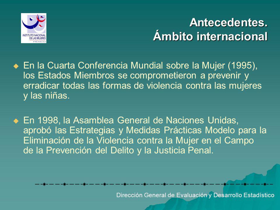 Antecedentes. Ámbito internacional Dirección General de Evaluación y Desarrollo Estadístico En la Cuarta Conferencia Mundial sobre la Mujer (1995), lo