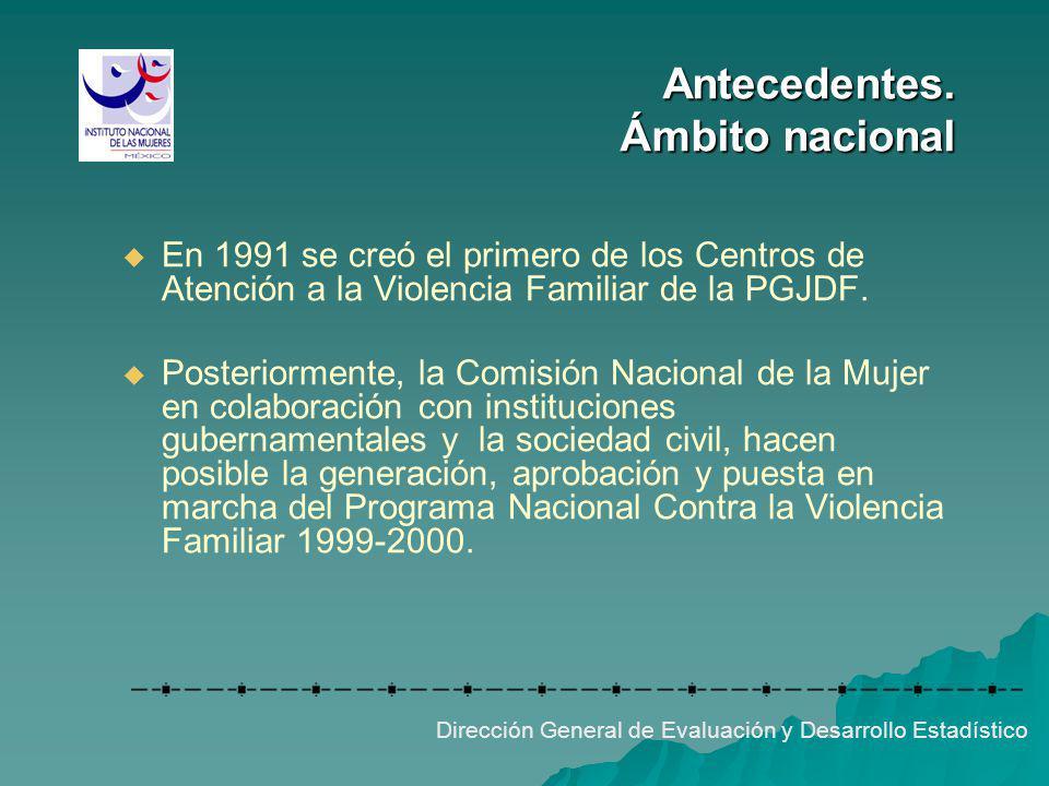 Antecedentes. Ámbito nacional Dirección General de Evaluación y Desarrollo Estadístico En 1991 se creó el primero de los Centros de Atención a la Viol