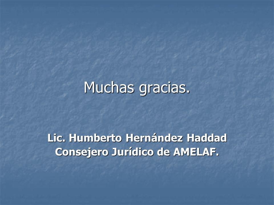 Muchas gracias. Lic. Humberto Hernández Haddad Consejero Jurídico de AMELAF.
