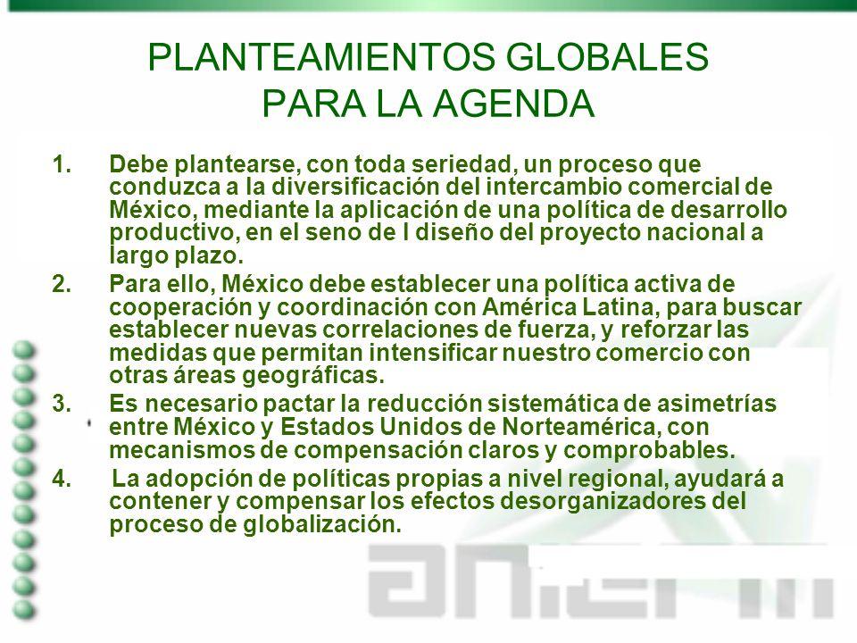 PLANTEAMIENTOS GLOBALES PARA LA AGENDA 1.Debe plantearse, con toda seriedad, un proceso que conduzca a la diversificación del intercambio comercial de México, mediante la aplicación de una política de desarrollo productivo, en el seno de l diseño del proyecto nacional a largo plazo.