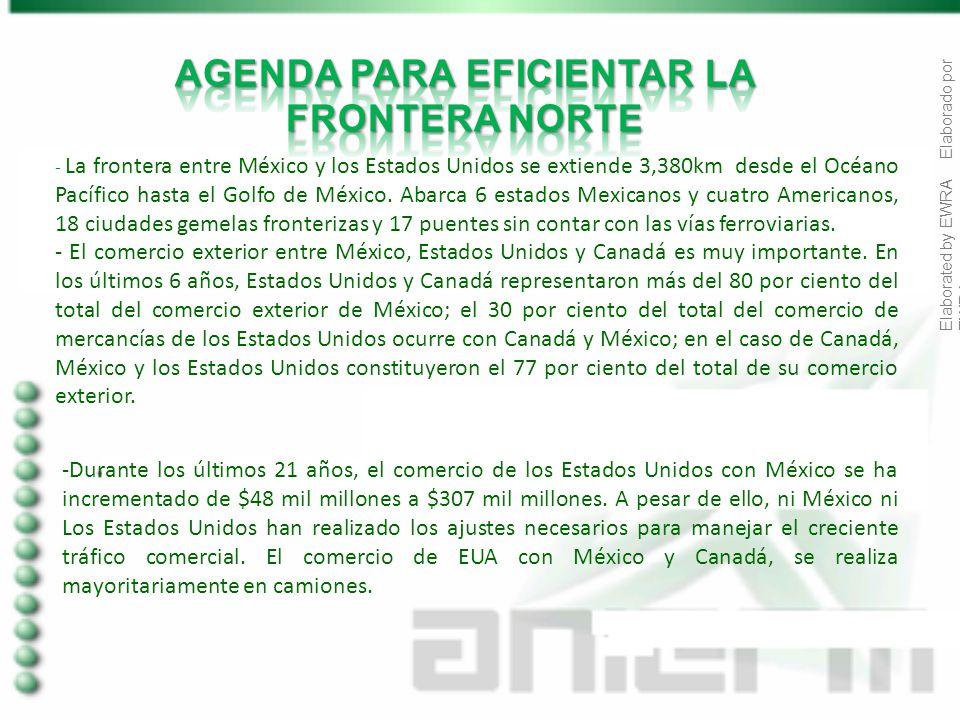 Elaborated by EWRA Elaborado por EWRA -Durante los últimos 21 años, el comercio de los Estados Unidos con México se ha incrementado de $48 mil millones a $307 mil millones.