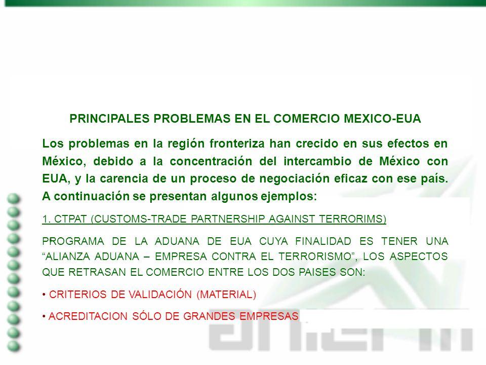 PRINCIPALES PROBLEMAS EN EL COMERCIO MEXICO-EUA Los problemas en la región fronteriza han crecido en sus efectos en México, debido a la concentración del intercambio de México con EUA, y la carencia de un proceso de negociación eficaz con ese país.