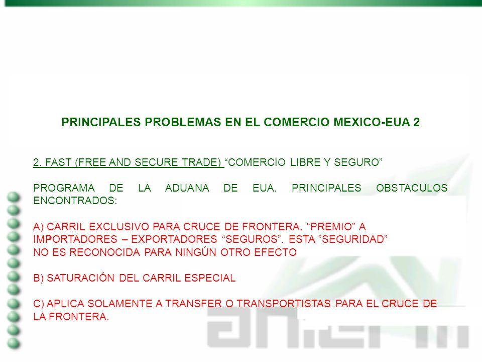 PRINCIPALES PROBLEMAS EN EL COMERCIO MEXICO-EUA 2 2. FAST (FREE AND SECURE TRADE) COMERCIO LIBRE Y SEGURO PROGRAMA DE LA ADUANA DE EUA. PRINCIPALES OB