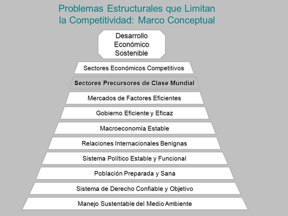 Problemas Estructurales que Limitan la Competitividad: Marco Conceptual Manejo Sustentable del Medio Ambiente Sistema de Derecho Confiable y Objetivo