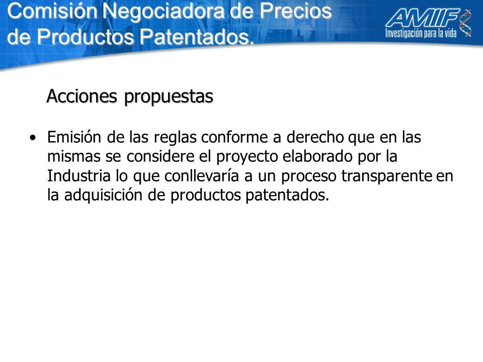 Emisión de las reglas conforme a derecho que en las mismas se considere el proyecto elaborado por la Industria lo que conllevaría a un proceso transparente en la adquisición de productos patentados.