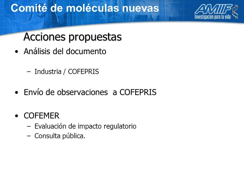 Análisis del documento –Industria / COFEPRIS Envío de observaciones a COFEPRIS COFEMER –Evaluación de impacto regulatorio –Consulta pública.